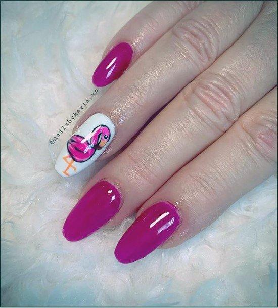Womens Damask Rose Deep Pink Flamingo Nails