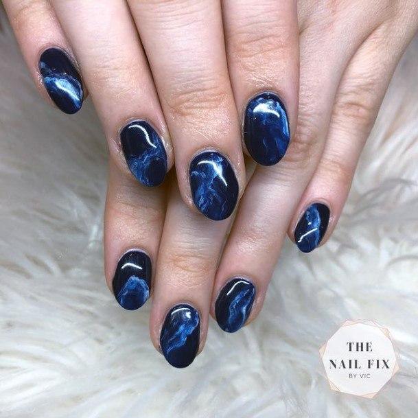 Womens Dark Blue And Black Water Nails Art