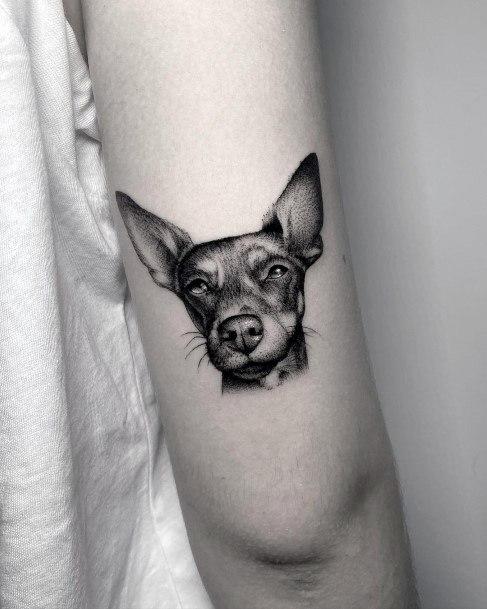 Womens Dark Dog Tattoo On Arms