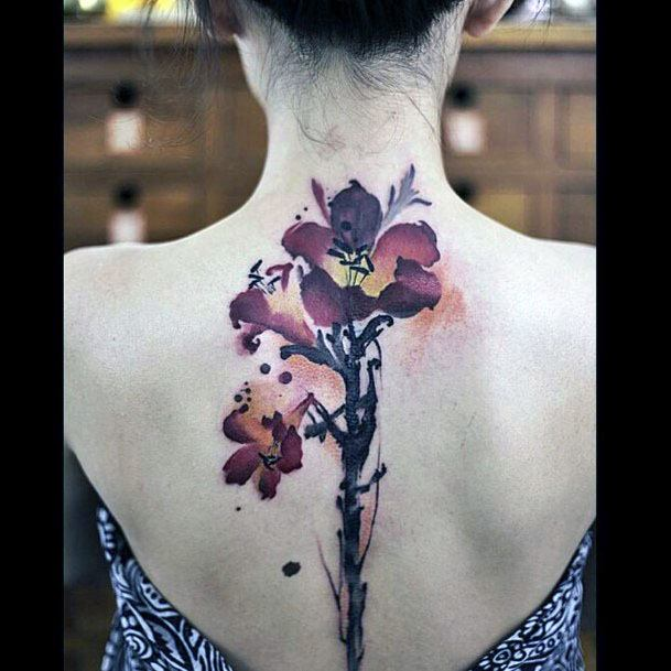 Womens Delicate Red Petal Tattoo Spine