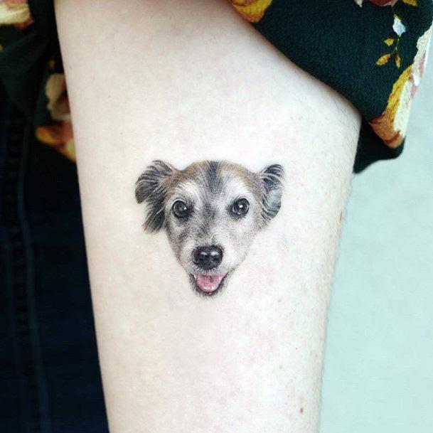 Womens Dog Face Tattoo