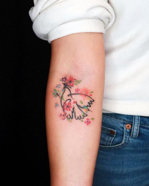 Womens Elbows Pinkish Dove Tattoo