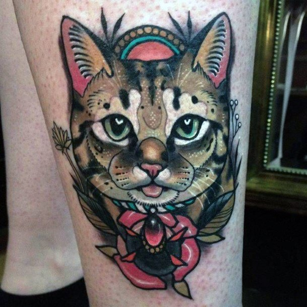 Womens Energetic Cat Tattoo For Women Traditional Style