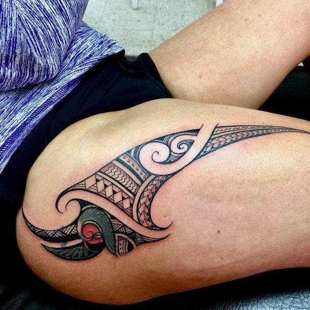Womens Exquisite Tribal Art Tattoo On Legs