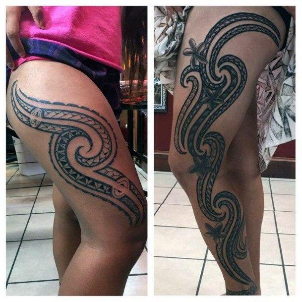 Womens Fierce Tattoo On Legs Tribal Art