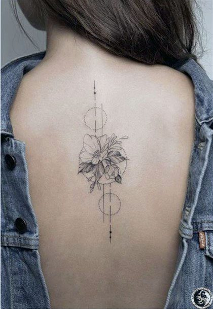 Womens Floral Geometrical Tattoo Spine