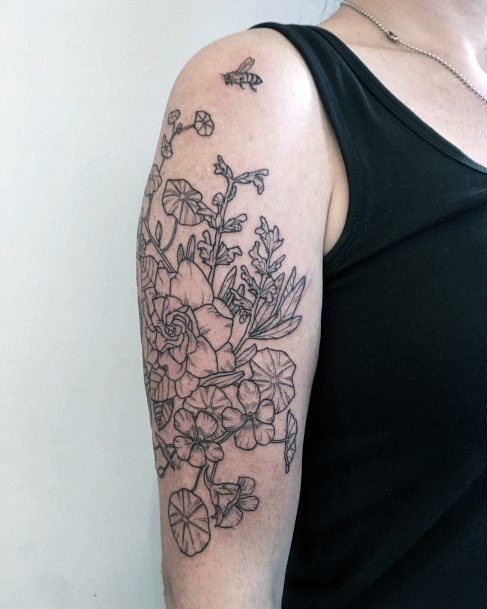 Womens Flower Bunch And Honey Bee Tattoo On Arms