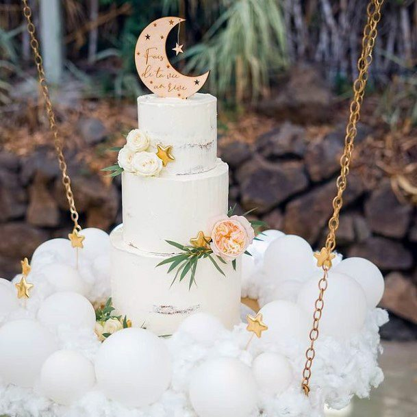 Womens Fluffy White Wedding Cake Stand With Chains