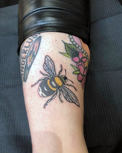 Womens Flying Bee And Flower Tattoo
