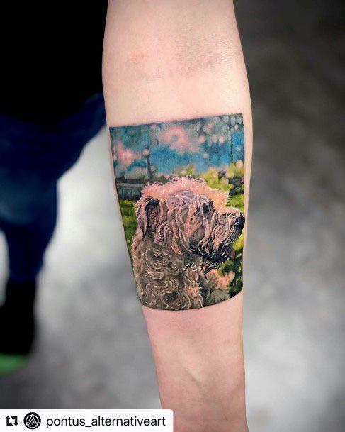 Womens Forearm Framed Dog Tattoo