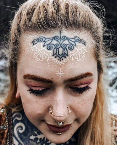 Womens Forehead Black And White Ink Tattoo