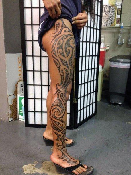 Womens Full Legs Tribal Tattoo