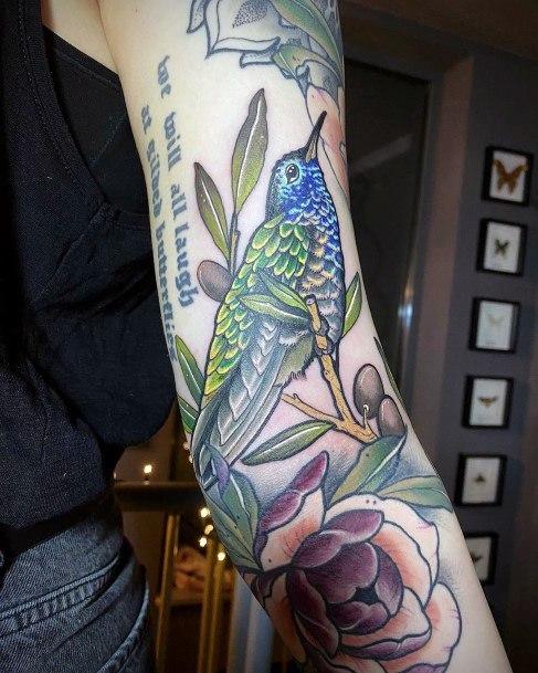 Womens Full Sleeve Hummingbird Tattoo