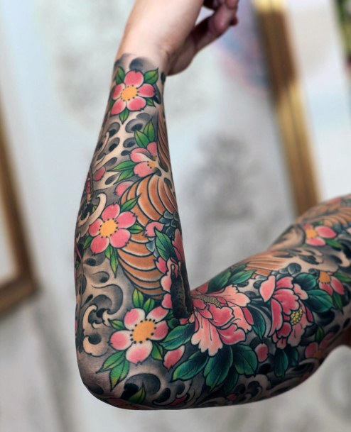 Womens Full Sleeves Japanese Cherry Blossom Design Tattoo