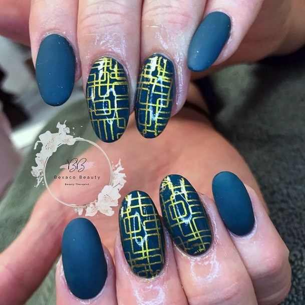 Womens Geometric Golden Design On Matte Green Nails
