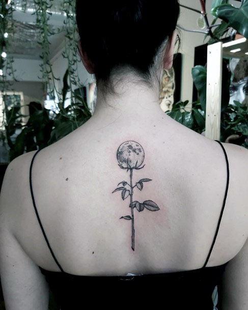 Womens Globe Tattoo Plant Spine