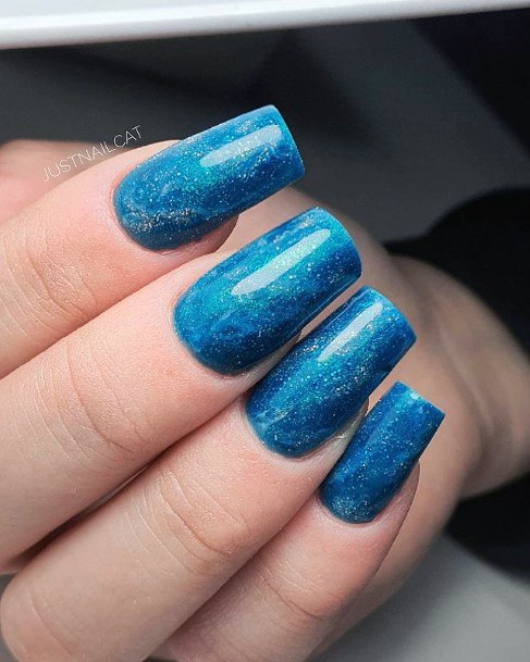 Womens Glossy Blue Water Nails