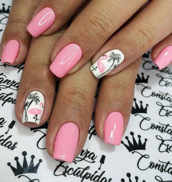 Womens Glossy Flamingo Nails