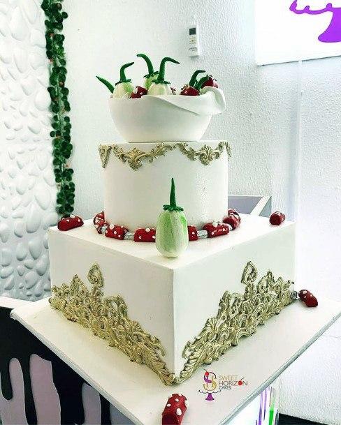 Womens Golden Art On White 3 Tier Cake Wedding