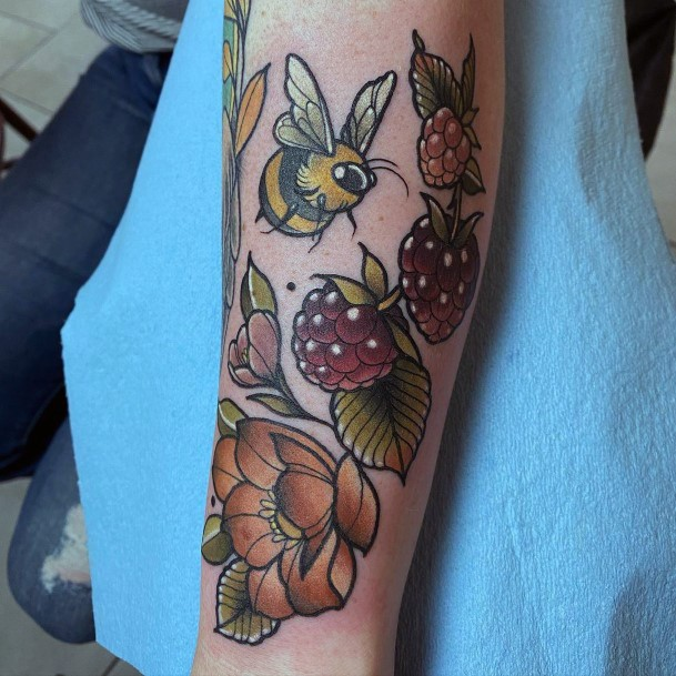 Womens Golden Fruits And Green Leaves Tattoo