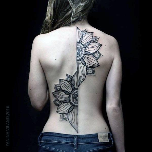 Womens Gorgeous Sliced Mandala Spine Tattoo