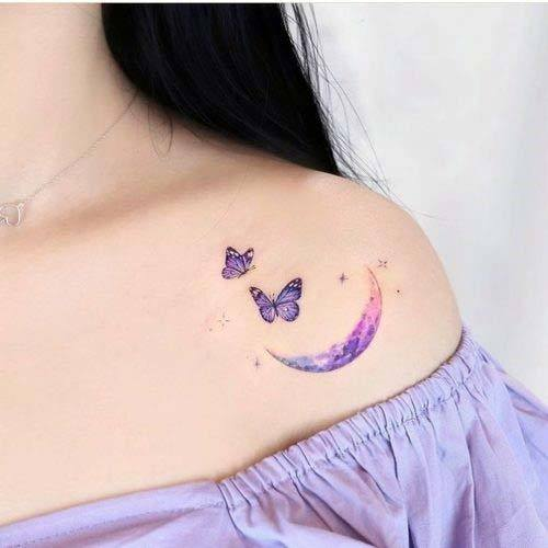 Womens Grand New Moon And Butterflies Tattoo Small Cute Purple Design