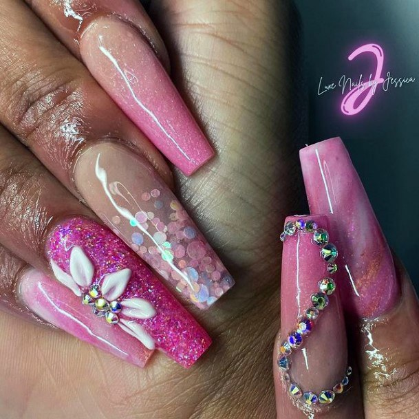 Womens Grand Pink Nails With Diamonds And 3d Flowers