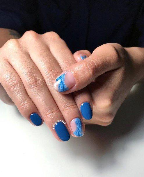 Womens Grandiose Blue Water Nails Art