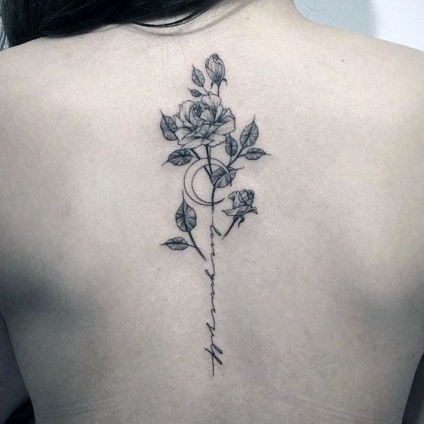 Womens Gray Plant Tattoo Spine