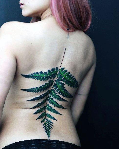 Womens Green Leaf Spine Tattoo