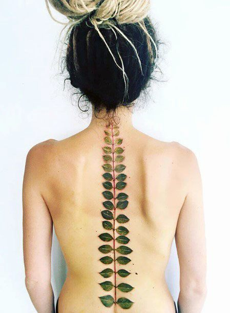 Womens Green Leaves Stalk Spine Tattoo