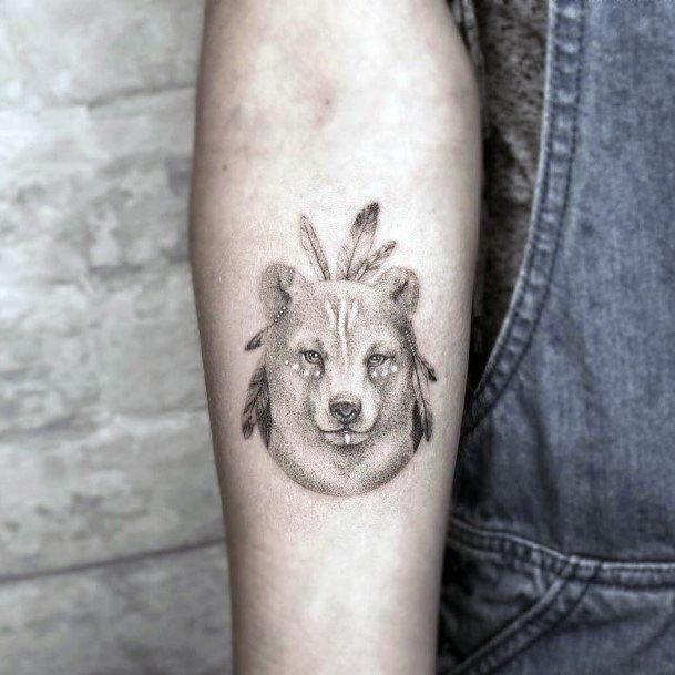 Womens Grey Bear Tattoo Upper Arms