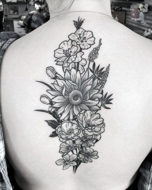 Womens Grey Floral Bunch Tattoo Spine