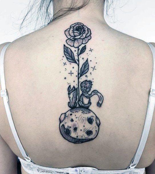 Womens Grey Rose Tattoo Spine