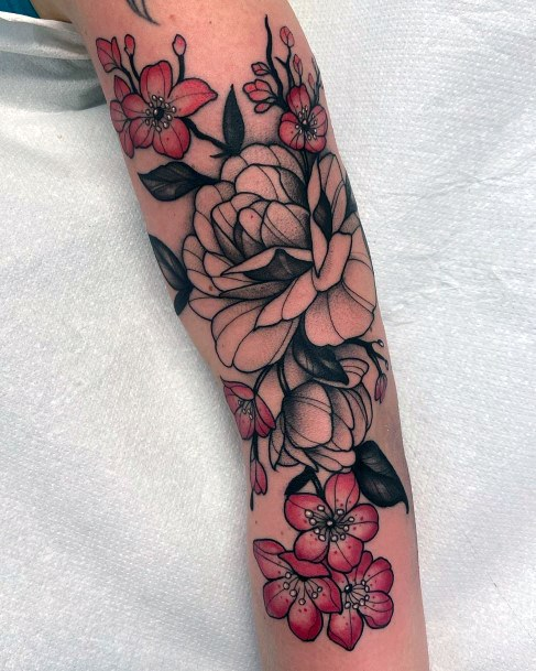 Womens Hands Black And Red Cherry Blossoms Tattoo