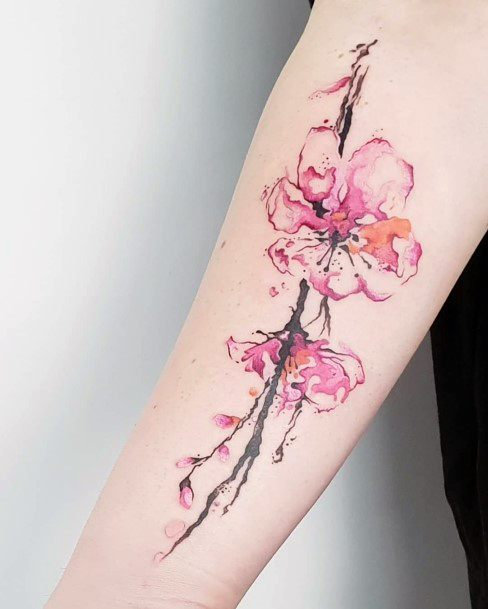 Womens Hands Cherry Blossom Pink Tattoo