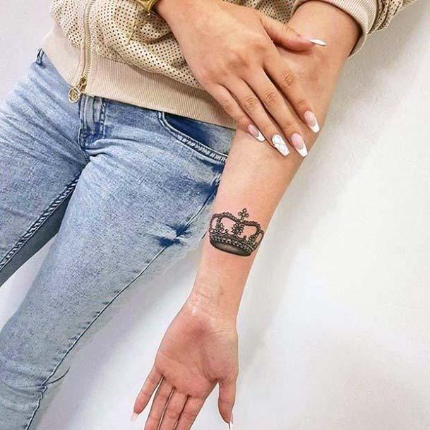 Womens Hands Crown Tattoo
