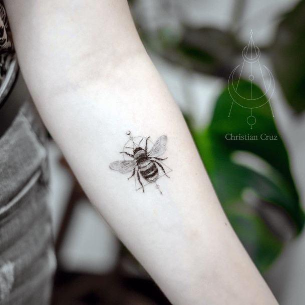 Womens Hands Dark Bee Tattoo