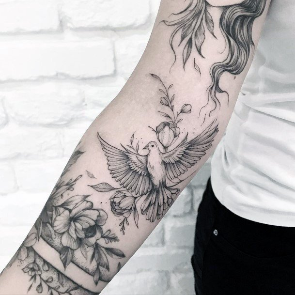 Womens Hands Fantastic Dove Tattoo