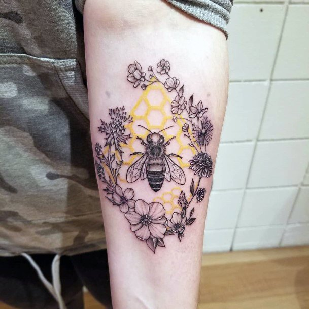 Womens Hands Floral Band And Honey Bee Tattoo