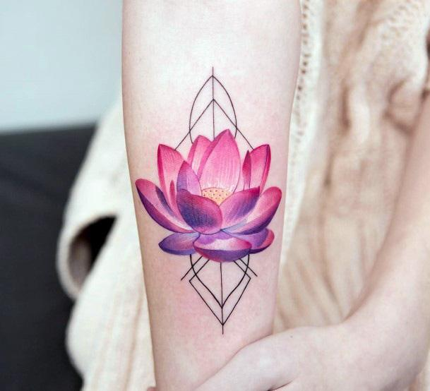 Womens Hands Geometrical Leaves And Pinkish Purple Lotus Blossom Tattoo
