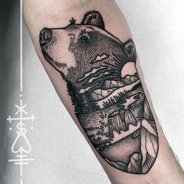 Womens Hands Grey Bear Landscape Tattoo