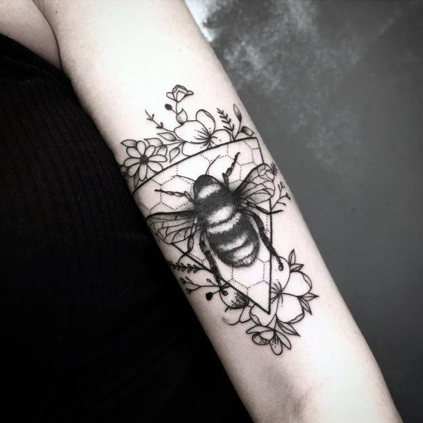 Womens Hands Large Black Bee Tattoo