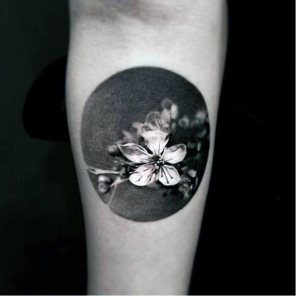 Womens Hands Spherical Framed Cherry Blossom Tattoo