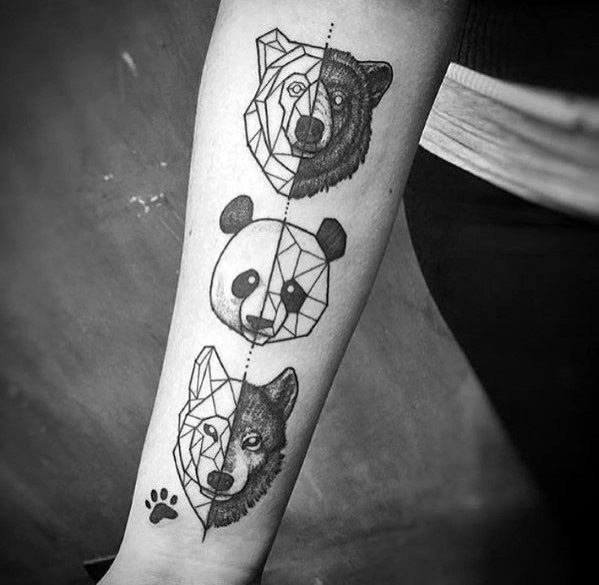 Womens Hands Two Sides Animal Faces Geometric Tattoo