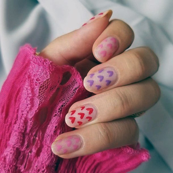 Womens Heart Colored Stickers Romantic Nails