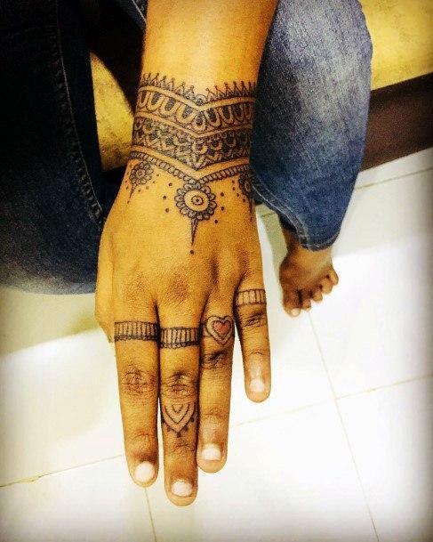 Womens Henna Tattoo On Wrist