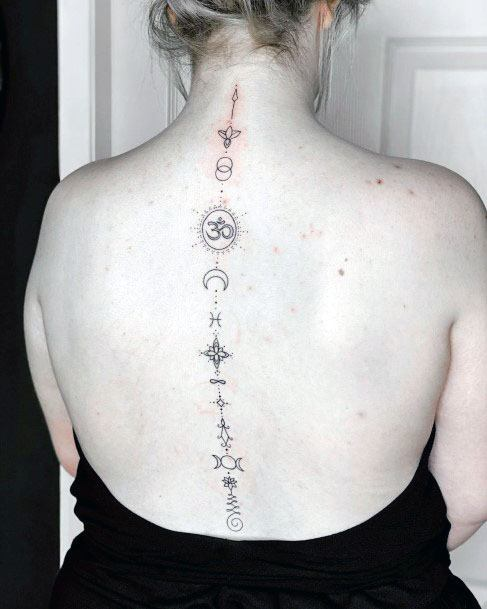 Womens Holy Spine Tattoo