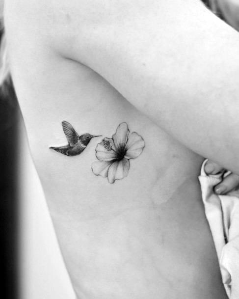 Womens Hummingbird And Blossom Tattoo Torso