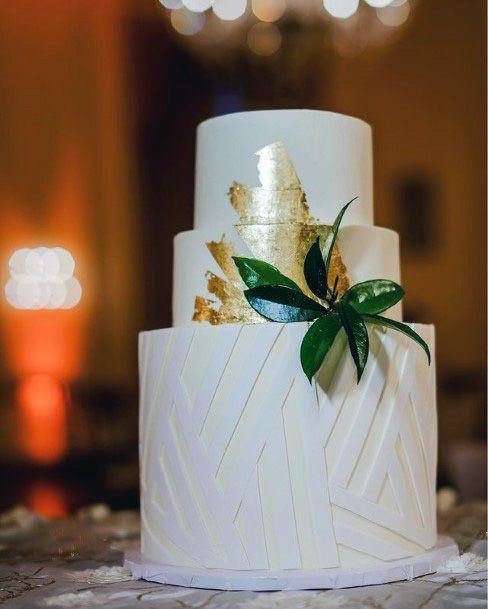 Womens Inviting Golden White 3 Tier Wedding Cake